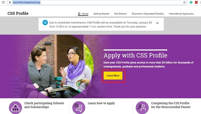 CCS profile online for college grants