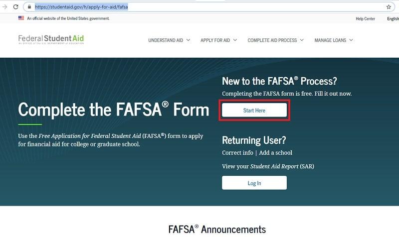 FAFSA form online