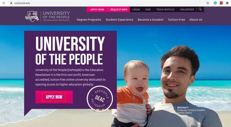 university of the people website
