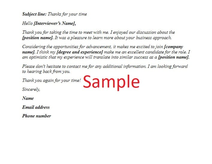 Interview thank you email sample