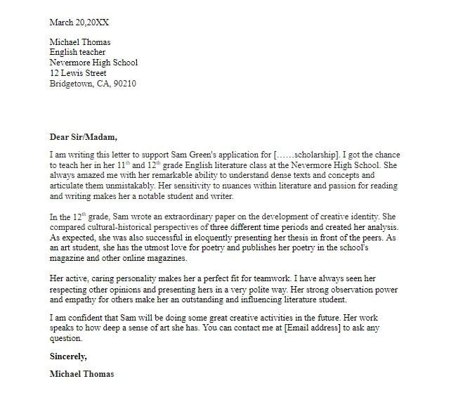 Scholarship recommendation letter sample
