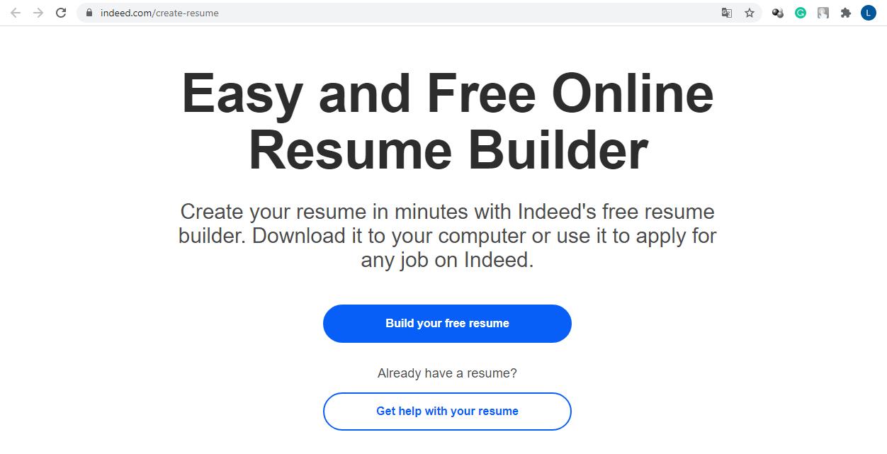 Indeed resume builder website