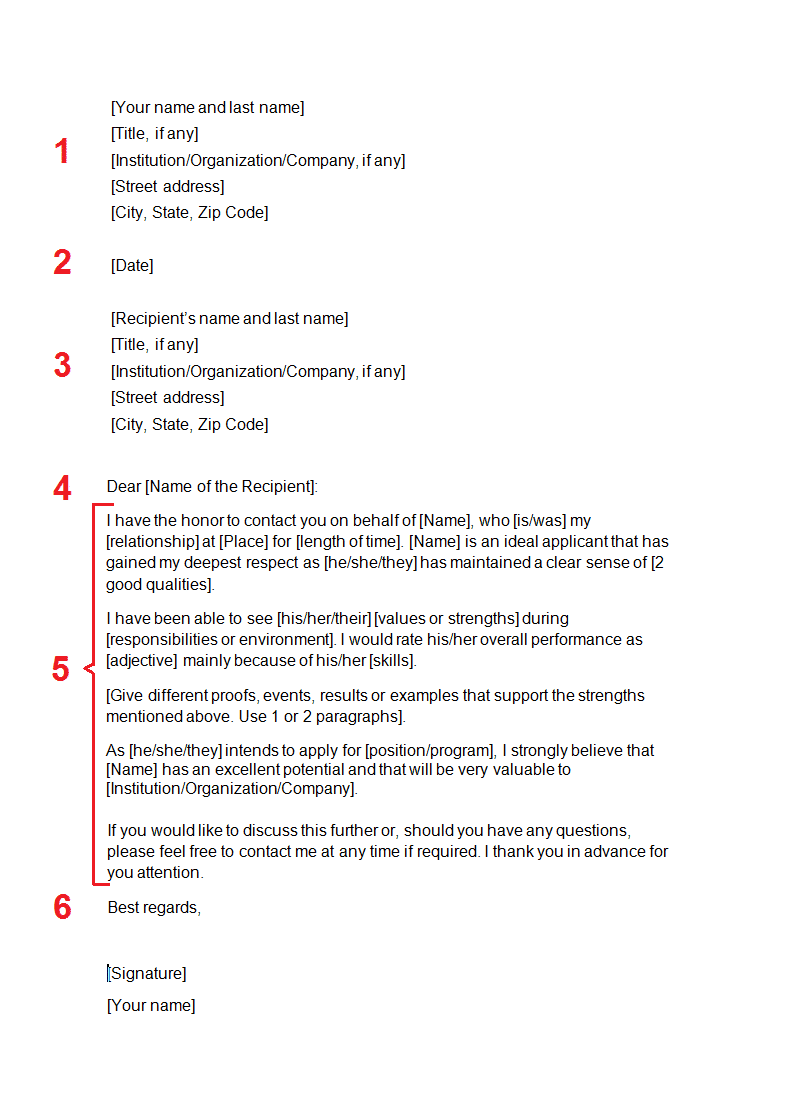 Recommendation Letter download template
