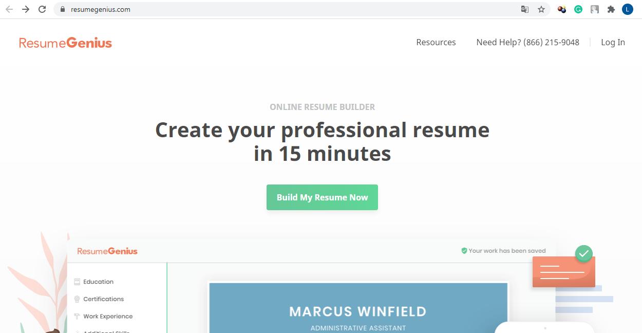 ResumeGenius website