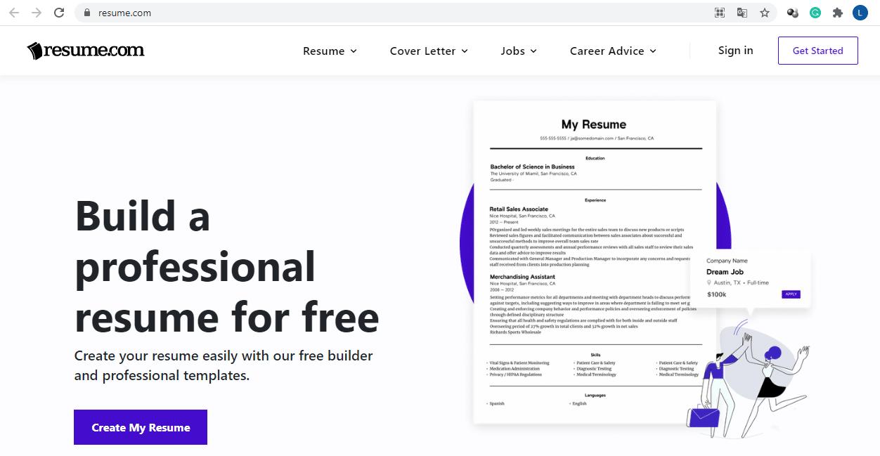 resume.com website
